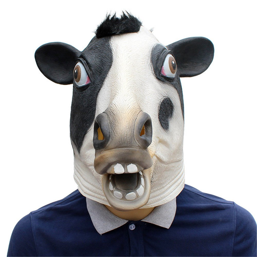 HBWJSH Rifornimenti del Partito di Festival di Halloween Maschera Animale del Lattice del Copricapo della Maschera della Mucca