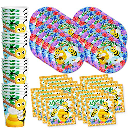 Bumble Bee Birthday Party Supplies Set Plates Napkins Cups Tableware Kit for 16 (Bumble Bee Plates)