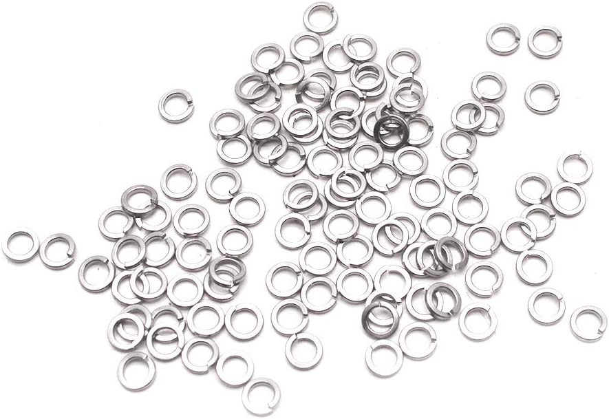 Neiko 50400A Stainless Steel Split Lock and Flat Washer Assortment 350-Piece Pack Set