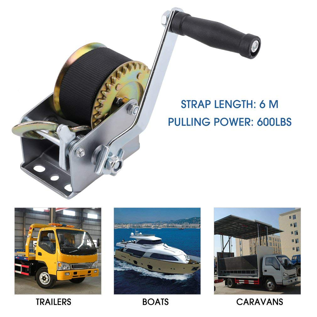 Blackpoolal Hand Boat Winch, Heavy Duty Car Trailer Boat With 6M Steel Wire 600lbs Brake and Cable and Hook, Puller Lifting Releasing Sling Hauling Tool