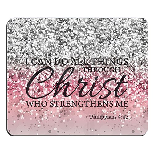 Mouse Pad Bible Verse Pink Sparkles Glitter Pattern Rectangle Christian Quotes I can Do All Things Through Christ Who Strengthens Me Philippians 4:13