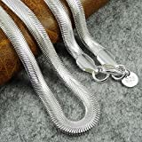 XMAS 6mm wide 16-24inch 925 Sterling Silver Layered Herringbone Chain Necklace