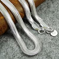 XMAS 6mm wide 24inch 925 Sterling Silver Layered Herringbone Chain Necklace