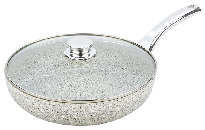 Amazon.com: Bisetti BT-38353 Non-Stick Aluminum Stonewhite Frying Pan with Handle Large White: Kitchen & Dining
