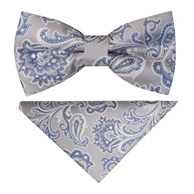 4200940c3918 TIES R US Pre Tied Silver and Blue Paisley Boys Bow Tie and Pocket Square  Set: Amazon.co.uk: Clothing