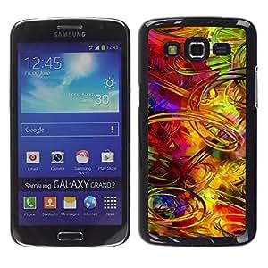 TopCaseStore / la caja del caucho duro de la cubierta de protección de la piel - Crazy Random Art Colorful Lines Pain Brush - Samsung Galaxy Grand 2 SM-G7102 SM-G7105
