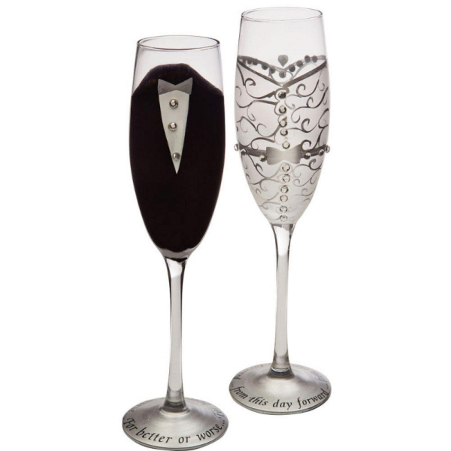 Set of 2 Handpainted Bride & Groom Champagne Toasting Flute Glasses 9 Gifted Living 746851441738