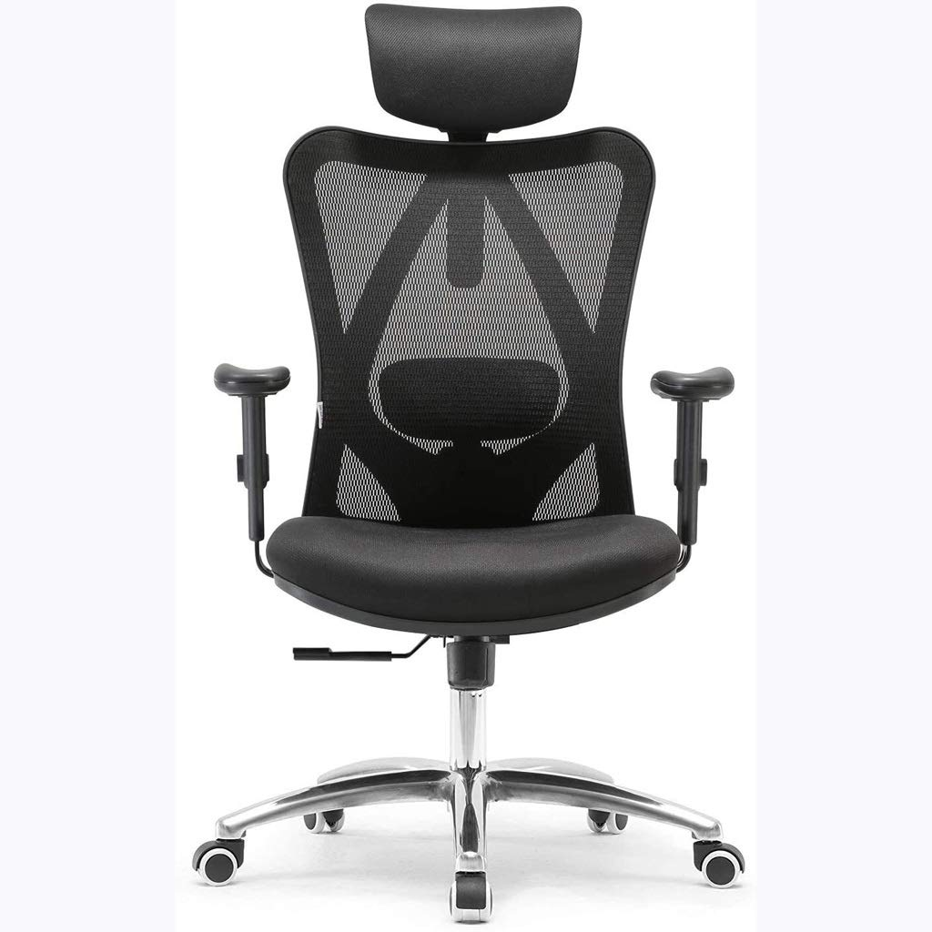 LUGEUK Ergonomisk datorstol, kontorsstol, konferensstol, vilande svängstol för e-sport (färg: Blå) BLÅ