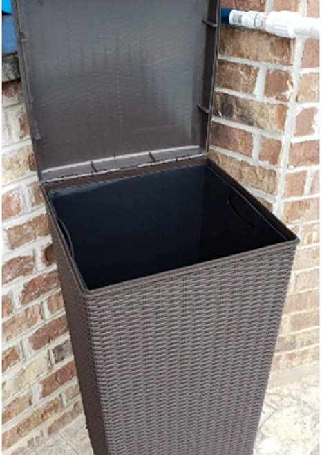 Amazon Com 30 Gallon Wicker Trash Can With Lid Tall Resin Plastic Garbage Can With Liner Durable All Weather Resistant Heavy Duty Rattan Trash Basket For Outside Patio Bathroom Home Kitchen
