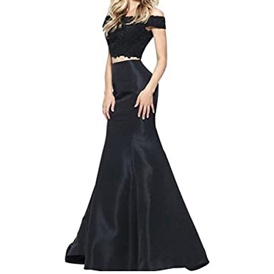 Fair Lady Black Lace Mermaid Prom Dress Two Pieces Formal Evening Dresses Party Gowns Long