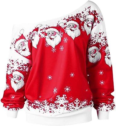 Yusealia Camisas Mujer de Navidad Blusa, Blusas de Mujer Camisa de Manga Larga del Cuello Oblicuo Estampado Navideño Pulóver Dama Suéter Sexy Tops Camiseta Sudaderas Mujer Blousas: Amazon.es: Ropa y accesorios