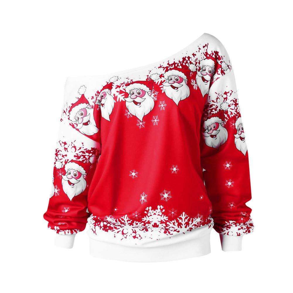 NPRADLA 2018 Fashion Women Fall Winter Causal Pullover Merry Christmas Santa Claus Printed Tops Skew Collar Sweatshirt Blouse