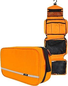 Neceseres de Viaje Hombre y Mujer, AIOR Pequeño Bolsas de Aseo Impermeable y Plegable Multifuncional para Cosméticos Organizador de Viaje, Baño Travel Toiletry Bag (Naranja): Amazon.es: Equipaje