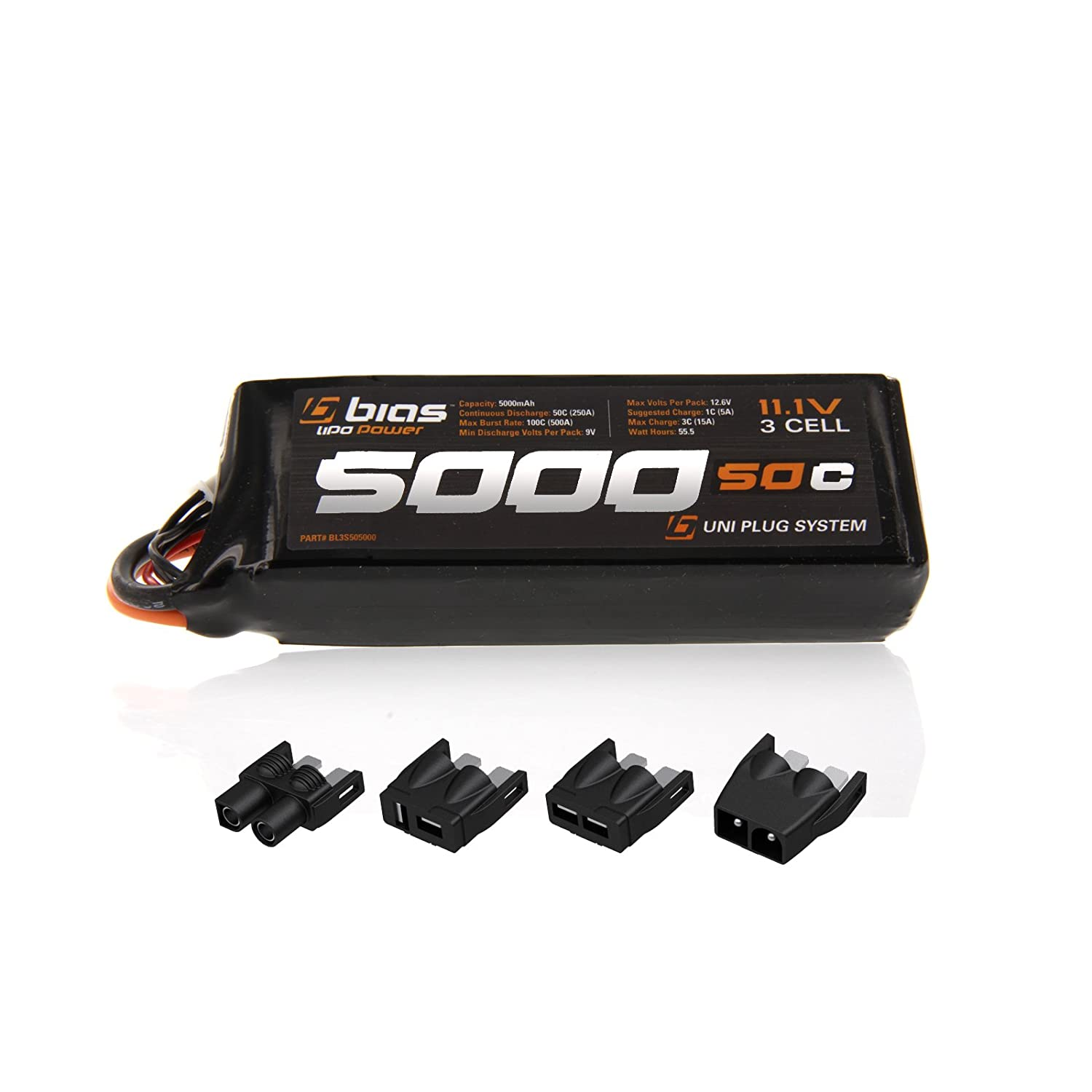 Amazon Bias 50C 3S 5000mAh 11 1V LiPo Battery UNI Plug EC3 Deans Traxxas Tamiya for RC Car Truck Buggy Boat Heli and Drone Toys & Games