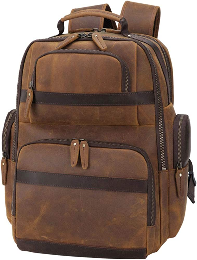 Tiding Men s Full Grain Leather Backpack 15.6 Laptop Bag Large Capacity Travel Hiking Daypacks with USB Charging Port