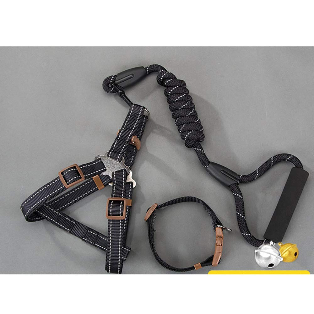 Reflective three-piece black L L Reflective three-piece black L L Dog Leash Dog Chain Leash Collar Suitable for Small Dogs Medium Large Dog pet Supplies Training Traction Rope Reflective Three-Piece Black L