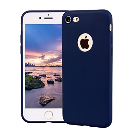 Funda iPhone 7, Carcasa iPhone 7 Silicona Gel, OUJD Mate Case Ultra Delgado TPU Goma Flexible Cover para iPhone 7 - Azul