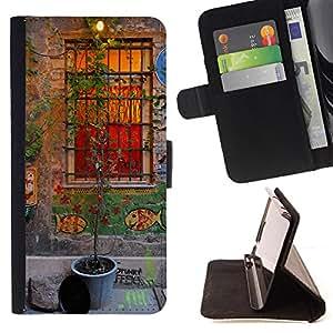 - Old English House Architecture Window - Estilo PU billetera de cuero del soporte del tir???¡¯????n [solapa de cierre] Cubierta- For HTC One M7 £¨ Devil Case £©