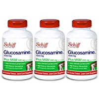 Schiff Glucosamine 1500mg Plus MSM and Hyaluronic Acid, 150 Tablets - Joint Supplement (Pack of 3)