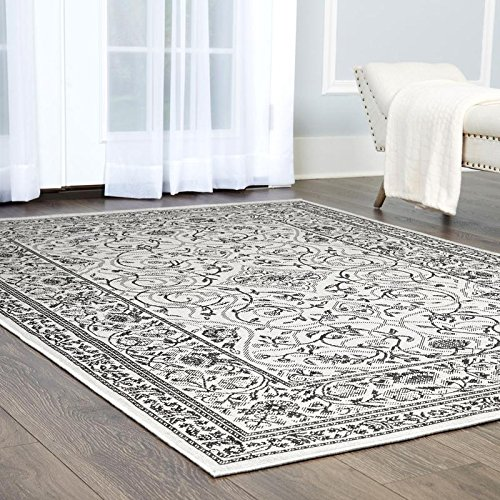 """Clearance Home Dynamix Nicole Miller Patio Country Camellia Indoor/Outdoor Area Rug, Traditional Ikat Blue/Gray 5'2""""x7'2"""""""