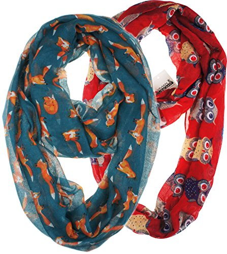 Vivian & Vincent 2 Pack of Soft Light Weight Elegant Sheer Infinity Scarf (Gift Idea) Red Owl & Steel Blue Fox (Ugly Christmas Scarf)