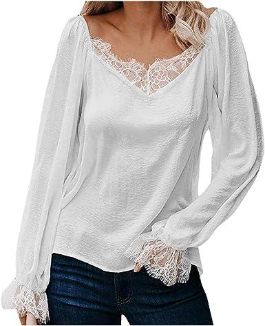 OPAKY Camisetas para Mujer Camisas Camisa Encaje Primavera de ...
