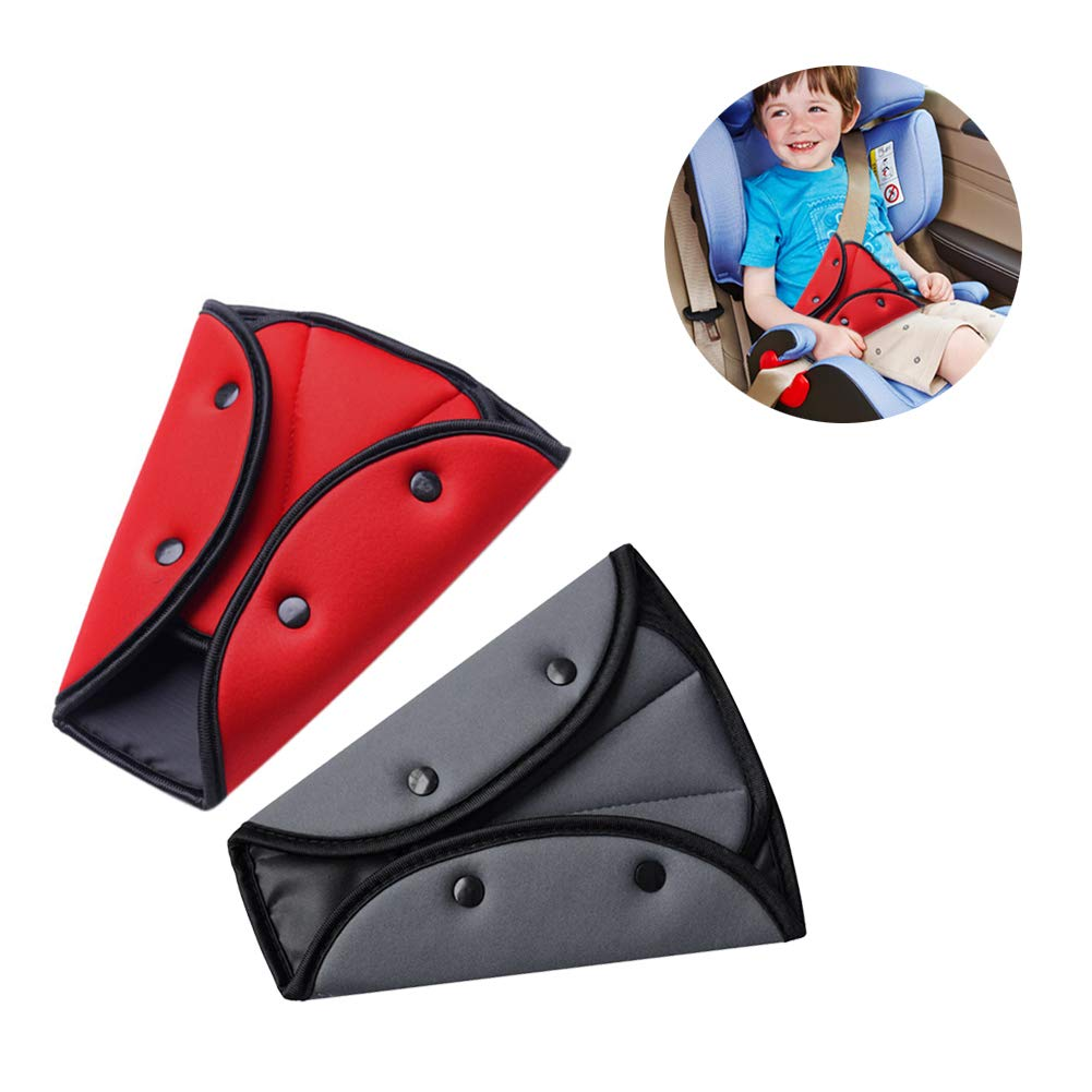 Seat Belt Cover, Yuccer 2 Pack Seat Belt Adjuster for Kids Adults Safety Strap Harness Adjuster Triangle Positioner, Soft and Breathable (Red/Grey)