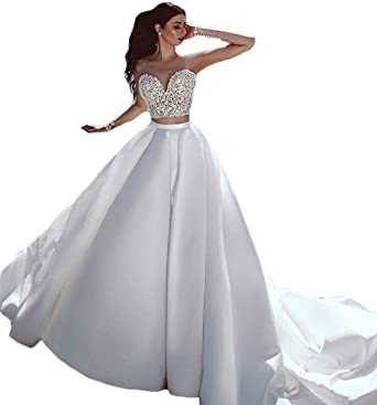 Amazon.com  Ri Yun Women s Two Piece Wedding Dress Beach Lace Backless Long  Sleeves Sweetheart Wedding Dresses for Bride 2018  Clothing 89b620749