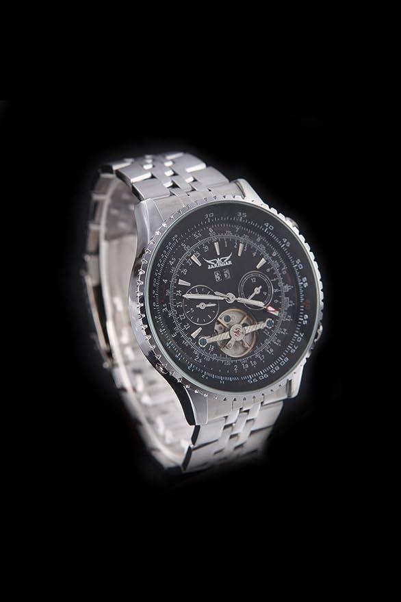 Amazon.com: JARAGAR Automatic Self-winding Mechanical Wrist Watch with Analog Display Stainless Strap Balance Wheel Black: Watches