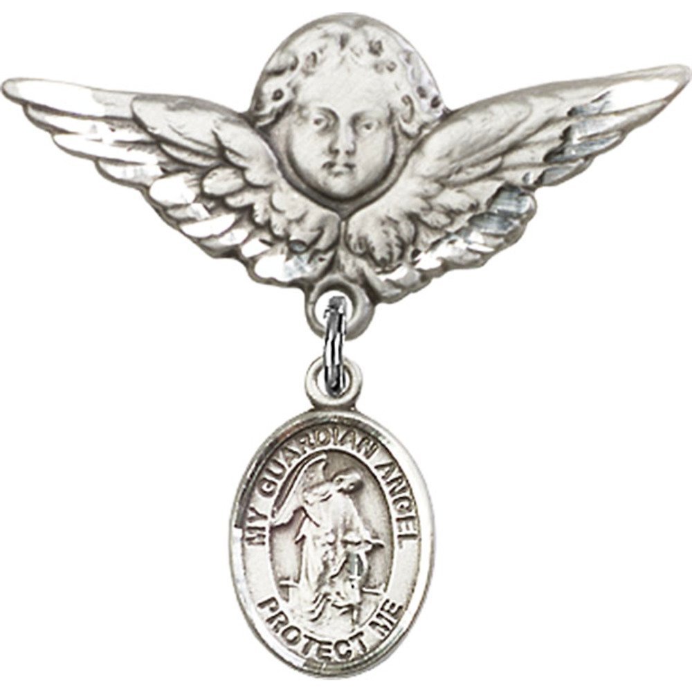 Sterling Silver Baby Badge with Guardian Angel Charm and Angel w//Wings Badge Pin 1 1//8 X 1 1//8 inches