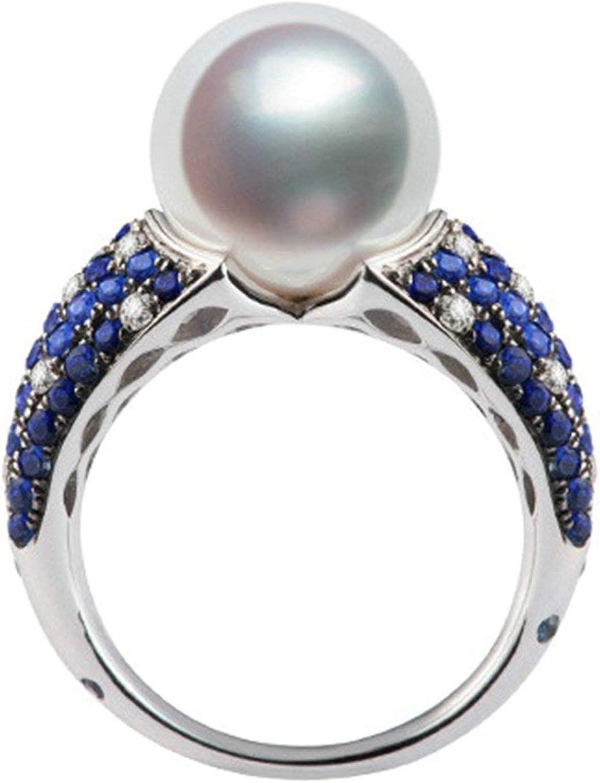 Daesar Anillo de Mujer Plata Azul Anillos Compromiso Mujer Oro Blanco 18K Redondo con Perla Diamante 0.27ct