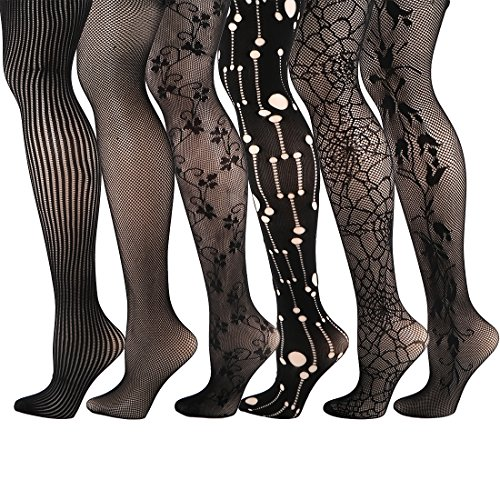 Lace Silk Pantyhose (kilofly 6pc Women's Sexy Fishnet Pantyhose Sheer Lace Stocking Tights Value)