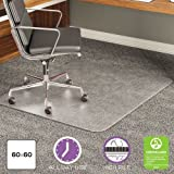 deflecto CM17743 60 x 60 Clear ExecuMat Intense All Day Use Chair Mat for High Pile Carpet