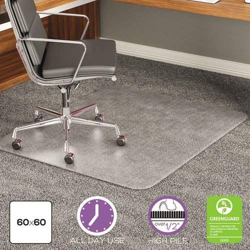 deflecto CM17743 60 x 60 Clear ExecuMat Intense All Day Use Chair Mat for High Pile Carpet by Deflect-O