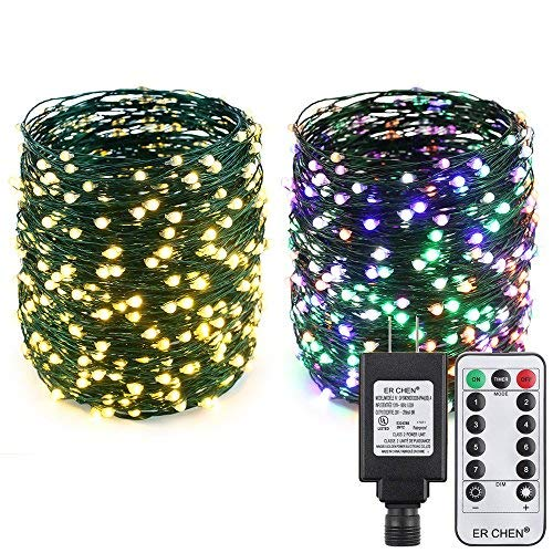 - ER CHEN Color Changing LED String Lights Plug in with Remote, 99Ft 300 LED Green Copper Wire Fairy Lights 8Modes Christmas Lights with Timer for Bedroom, Patio, Garden, Yard-Warm White&Multicolor