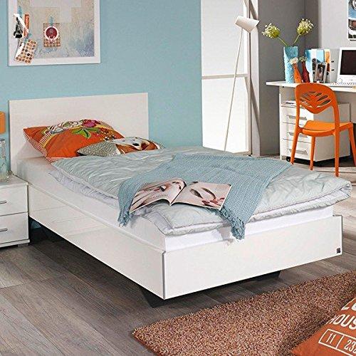 Jugendbett Miri 90*200 cm hochglanz weiß Jugendliege Einzelbett Kinderbett Tagesbett Holzbett Bettliege Bett Bettgestell Bettrahmen