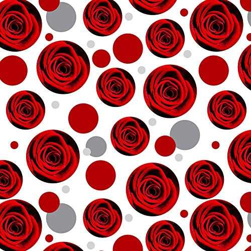 Premium Gift Wrap Wrapping Paper Roll Pattern - Flowers - Red Rose