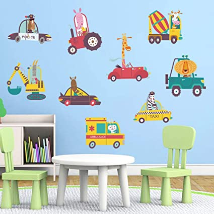 Amazon.com: decalmile Animal Truck Wall Decals Giraffe Zebra Kids ...