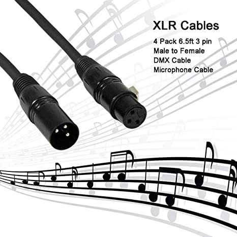 Amazon Com Colorsage Dmx Cable 4 Pack 6 5ft 3 Pin Xlr Cable