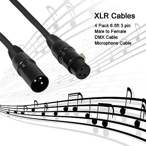 Amazon Com Colorsage Dmx Cable 10 Pack 6 5ft 3 Pin Xlr Cable