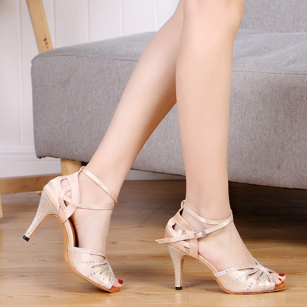 YKXLM Women Dance Shoes Rhinestone Ballroom Latin Salsa Bachata Performance Dance Shoes Peep-Toe Model YCL429