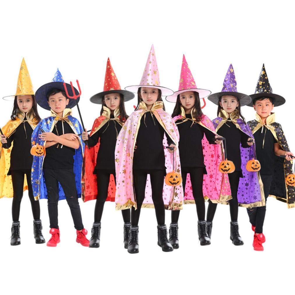 Vestiti Di Halloween Bambina Carnevale Bimba Costumi Carnevale Bambini Adulti Halloween Bambino Costume Mago Strega Mantello Capo Accappatoio + Hat Set Morwind