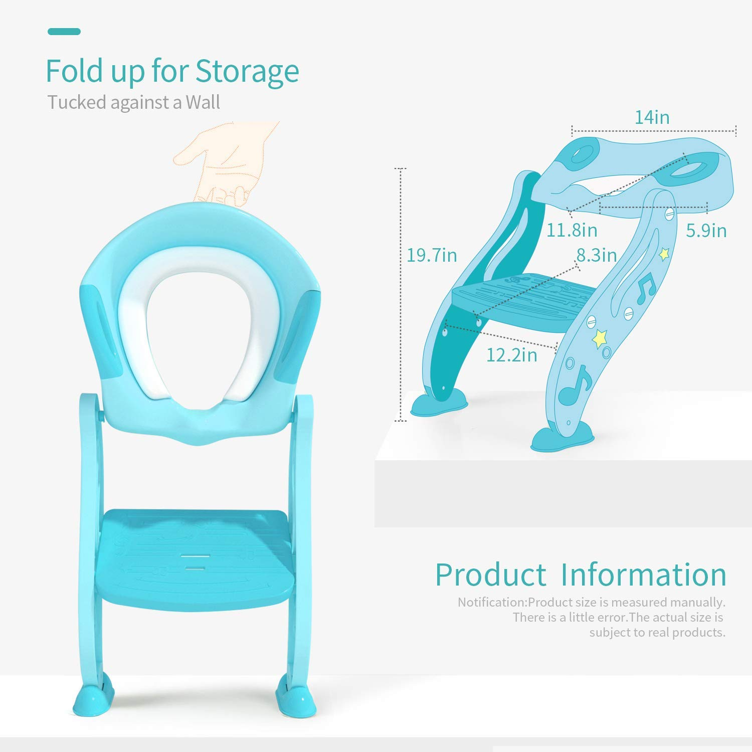 Comfortable Handles And Splash Guard Potty Training Seat for Kids,Adjustable Toddler Toilet Potty Chair with Sturdy Non-Slip Step Stool Ladder Easy To Assemble Toilet Seat for Boys And Girls,Blue