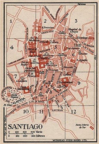 Map Of Spain 1930.Amazon Com Santiago Vintage Town City Map Plan Spain 1930 Old
