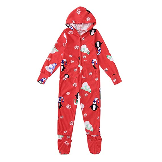 f2c67b7e4 Family Matching Footed Pajamas Christmas Snowflake Hooded Fleece ...