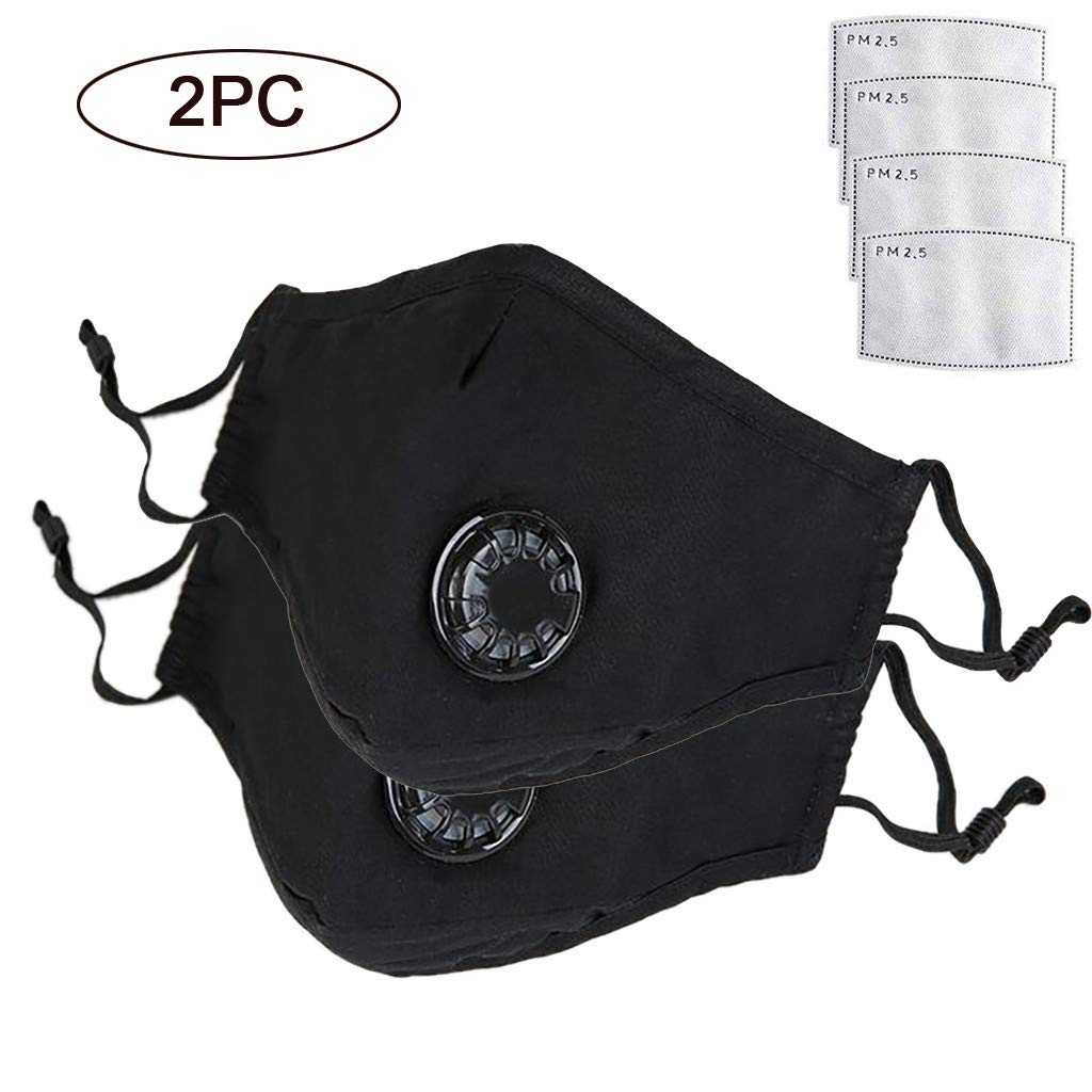 2 Pcs Anti Air Dust Masks and Smoke Pollution Mask - ZYooh Reusable Washable Comfy - Anti Bacterial Activated Carbon N95 PM2.5 Filters for Allergy for Women&Man (Black)