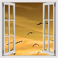 Alonline Art - Seagulls Flying in Sky by Fake 3D Window | Framed Picture Poster | Ready to Hang Frame | Printed on Canvas