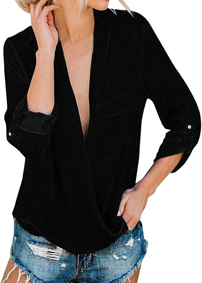 Women/'s Business Work Loose V-neck Pullover Striped Long Sleeve Blouse T-Shirt