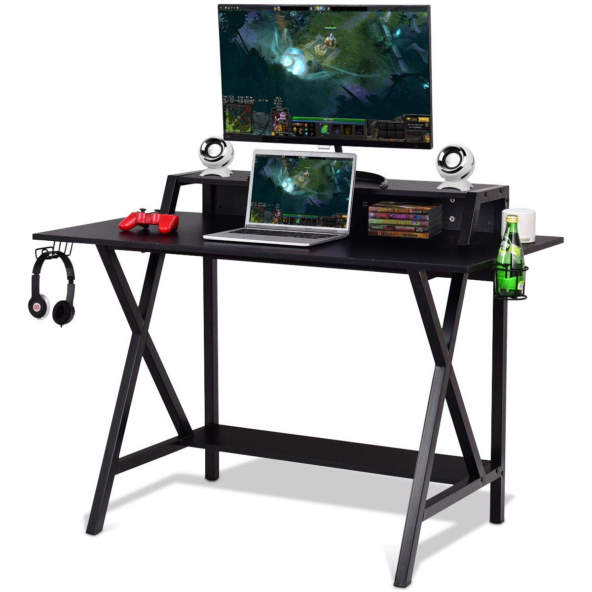Tangkula Gaming Desk, Gaming Computer Desk, Gamers Computer Desk, Gaming Workstation with Cup & Headphone Holder, Built-in Wire-Management, Writing Desk for Home Or Office, Black