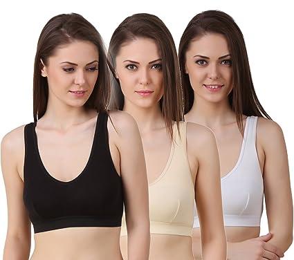 fdaca4667f Ansh Fashion Wear Pack Of 3 Sports   Gym Wear Bra  Amazon.in ...